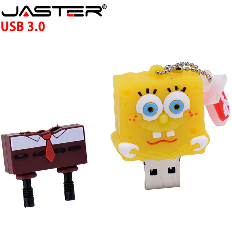 JASTER Hot Sale High Speed USB 3.0 Flash Drive 4GB 8GB 16GB 32GB 64GB Cartoon SpongeBob Capacity USB 3.0 Memory Stick