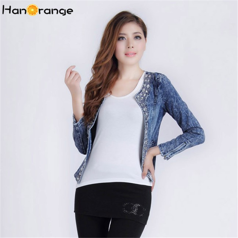 HanOrange Vintage 2017 Spring Autumn Retro Denim Rhinestone Beading Sequins Long Sleeve Female font b Women