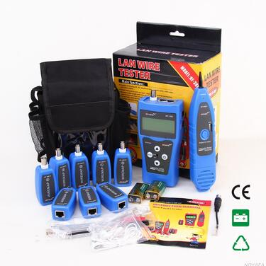 Free Shipping!! NOYAFA NF-388 Blue Network LAN Cable Tester RJ45 RJ11 USB BNC Cable Tester Cable 8 pc remotes noyafa nf 388 english version multi functional network cable tester remote cable tracker rj45 rj11 lan tester lcd display