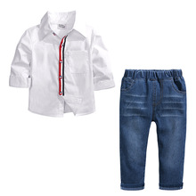Baby Boy Clothes Childrens Wear 2019 Spring and Autumn New Long Sleeve White Shirt + Jeans Set 2-7 years Boys