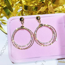 цена на Multi-layer Crystal Stone Round Circle Long Earrings For Women 2019 Fashion Jewelry Bijoux Simple Geometric All Match Korean