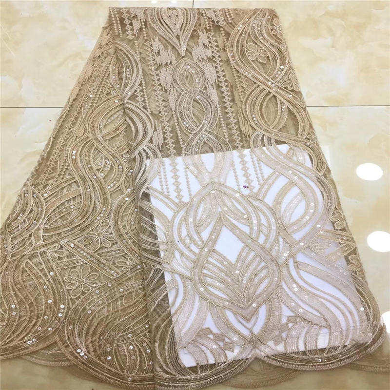 Gold African Lace Fabric For Wedding Dress High Quality French Lace Fabric With Sequins Fashion Nigerian