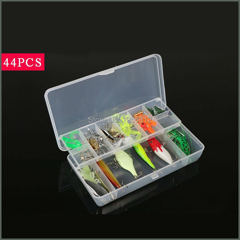 44pcs Mixed Fishing Lure Set Frog/Minnow/Crank/Popper/Leadhead Fishing Hook Soft Lure Set Fishing Tackle Free Shipping goture 96pcs fishing lure kit minnow popper spinner jig heads offset worms hook swivels metal spoon with fishing tackle box