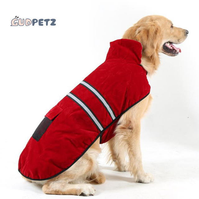 Large Dog Jacket Labrador Winter Clothes Suede Warm Fabric Pug Costume Outfit For Animals Jogging Hiking