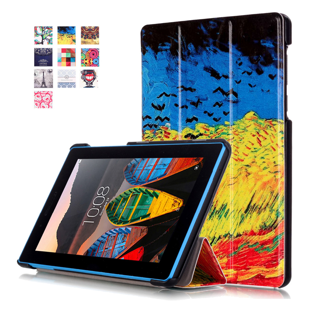 Ultra Slim Painting Magnetic Stand pu leather Case for Lenovo Tab 3 Tab3 7 Essential 710 710I 710F TB3-710F tablet cover cases slim fit stand feature folio flip pu hybrid print case for lenovo tab 3 730f 730m 730x 7 inch