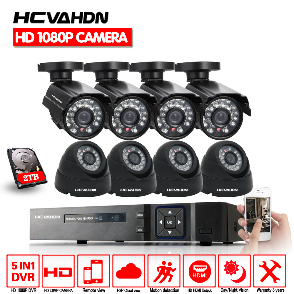 Home Security 8CH 1080P HDMI DVR Outdoor AHD 1080P CCTV Camera System 8 Channel Video Surveillance Night Vision Kit With 2TB HDD mother s day eyedea 8 ch phone monitor video dvr recorder 2 0mp bullet outdoor led night vision cctv security camera system 2tb