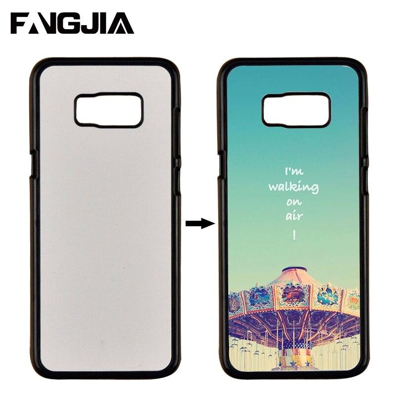 imágenes para Para Samsung Galaxy Caso Sublimación 2D S8 Coque Duro PC DIY caja de Transferencia de Calor de la Contraportada Con el Metal Blanco Fundas de Chapa De Aluminio