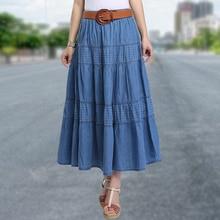 2019 Summer Woman Plus Size Denim Skirt Korean Style Slim Fit Solid Vintage Long A Line Jeans Bohemian Boho