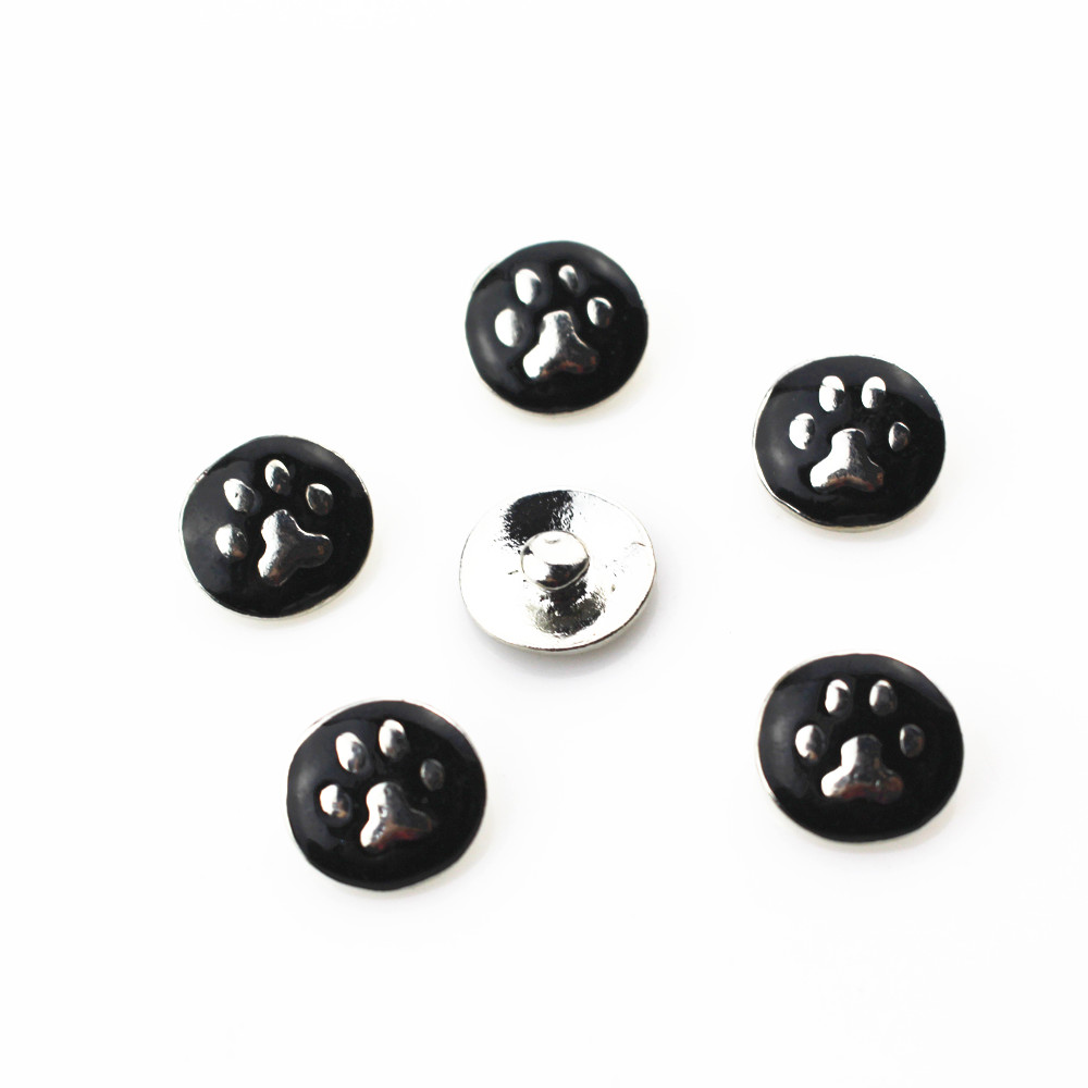 New arrive 20pcs/lot metal black <font><b>dog</b></font> paw snap buttons for 12mm snap bangle <font><b>bracelet</b></font> ginger snap button interchangeable jewelry image