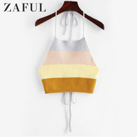 ZAFUL Tank Tops Green Sexy Hip Hop Office Lady Streetwear Slim Color Block Halter Female White Fashion Red Elegant Short Tops
