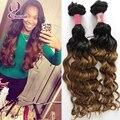 Hotsale y Belleza rubio clip en extensiones de cabello humano 100% brasileño de la virgen del pelo humano color de tono dos onda del cuerpo del pelo extensión