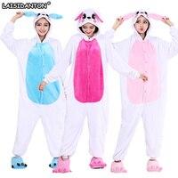 LAISIDANTON Pink Rabbit Women Hooded Winter Pyjamas Unicorn Cute Pajamas For Couples Lovers Pijama Adult Onesie