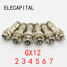 1pcs GX12 2 3 4 5 6 7 Pin Male & Female 12mm Wire Panel Connector Aviation Plug L91 GX12 Circular Connector Socket Plug