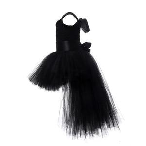 Image 3 - Robe Tutu pour filles noires, robe en Tulle avec col en v, robe de soirée pour fête anniversaire, Costume dhalloween, 1 14 ans