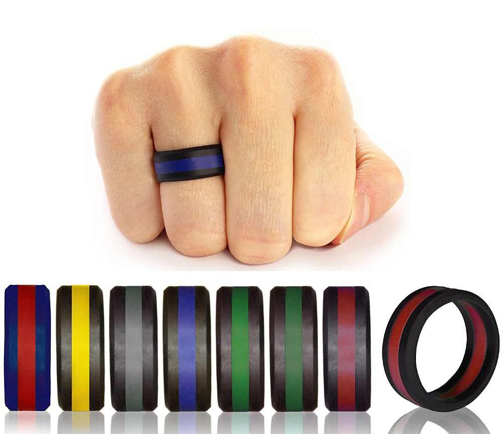 Popular Size 7-13 Colorful Environmental silicone Outdoor Sports Ring Three Layered Wedding  Finger Ring Creative Accessories