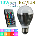 10W RGB LED Bulb lamps With IR Remote Control Dimmable E27/E14 AC85~265V LED High Power Integrated LED Colorful Spot Bulb Light