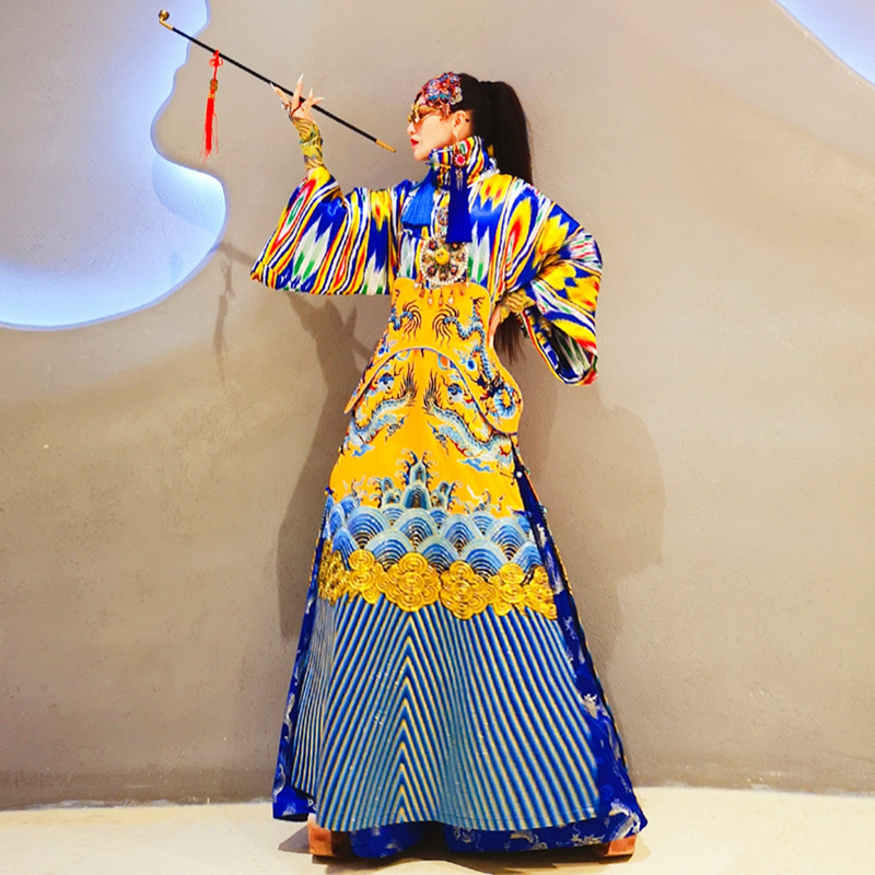 Chinois Broderie Coton Longues Style Manches Antique Robe Costumes Exquis Stage Vintage Multi À Show Femelle Dragon National rrSFAHgwq