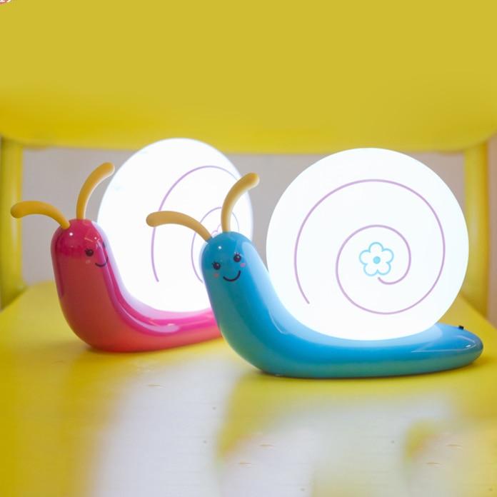 Karikatūra cute LED gliemežam blakus galda lukturim mazuļa guļamistabā, USB uzlādējamas sienas nakts miega lampiņas bērniem