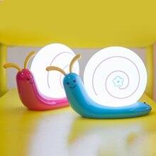 LED night light rechargeable lamp desk bedside feeding baby bedroom snail USB children