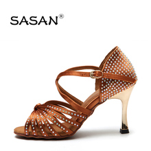 Standard Dance Shoe Party Ballroom Dancing Sneakers Diamond Flesh Fitness Breathable Ladies Aerobics Shoes Teacher  SASAN S-125