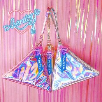 Bentoy Shining Leather Women's Handbag Personality Triangle Purse Hologram Clutch Evening Bag Fashion Wristlets Ladies Purse 10