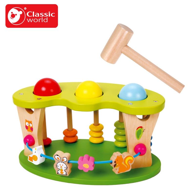 Classique Monde Enfant Frappé Boule De Jouet De Haute Qualité Bois Bruit Maker Bébé Jouet Musical Instrument de Frapper Jouet En Bois enfant d'anniversaire cadeau