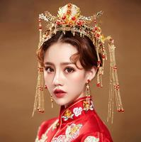 Vintage Chinese Bride Headdress Costume Gold Long Tassels Red Pearls Wedding Hairwear Photography Hair Accessories Luxurious