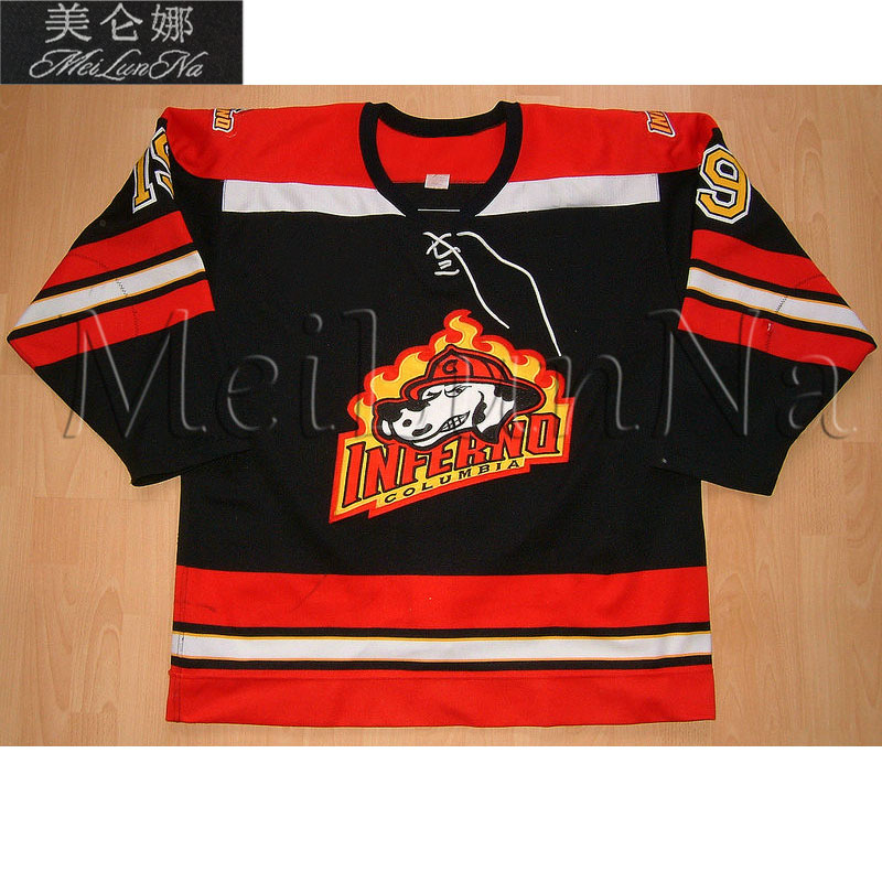 MeiLunNa Custom ECHL Columbia Inferno Hockey Jerseys Alex Burrows Eric Boulton Alex Auld Home Road Sewn On Any Name NO. Size толстовка wearcraft premium унисекс printio bsmu bashkir state medical university