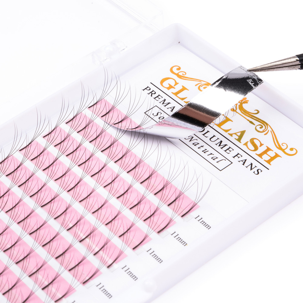 GLAMLASH 2D/3D/4D/5D/6D Long Stem Volume Eyelash Extensions Handmade Synthetic Lashes Premade Wide Fans