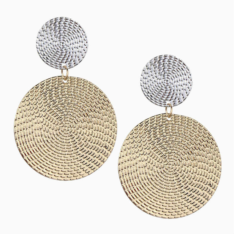 Fashion Jewelry Exaggerated Pendant Size Round Circle Earrings Female Elegant Earrings Temperament Color Matching Bump Earrings