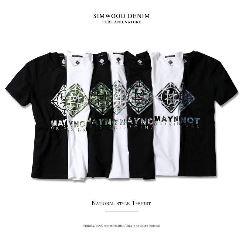 SIMWOOD New 2018 Brand Summer Short Sleeve T shirts Men 100% Cotton Fashion Tees Plus Size O-Neck Village Print Clothing 180118