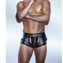 Plus Size Sexy Men Leather Boxer Underpants Erotic Open Front Jockstrap Gay Underwear Cut Out Male Low Waist Lingerie Homme M-XL