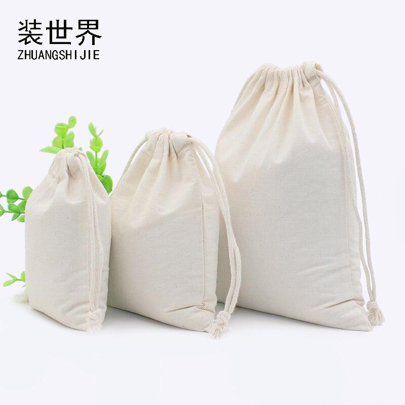 24*41cm Cotton Pouch Storage Bag Logo Printed Drawstring Bags Candies Food Cookie Packaging Christmas Pouch   Bolsas De Tela