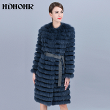 HDHOHR 2019 New Real Fox Fur Coat Women Natural With Belt Fashion High Quality Long Strip Jackets Lady