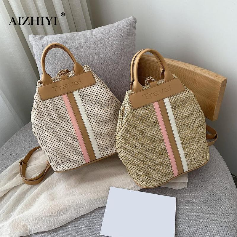 Fashion Straw Woven Backpack Women Back Pack Summer Teenage Girl Quality Backpacks Travel Bags Books Rucksack Drop Ship Mochila