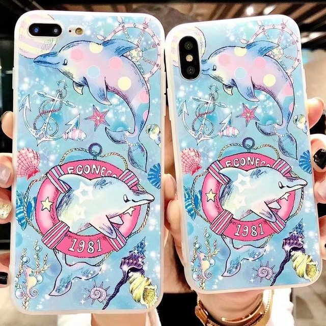 For iPhone X Case Dolphin Cute Sea Ocean Women Kid Girl Mobile Phone Case  For iPhone 6 6s plus Dolphin For iPhone 7 8 plus Case 62802f6443
