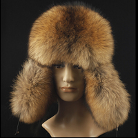 2016 Winter Luxury Natural Fox Fur Hats for men Brand Famous Male hat Winter Warm Real leather Fur Bomber Hats