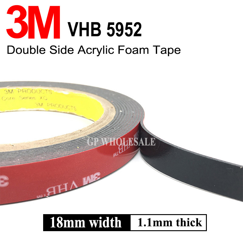 3M VHB 5952 3m Black Double Sided Tape Outstanding Durability Performance VHB Tape Two Side Acrylic Adhesive 18mm*3M/1Roll 3m adhesive tape bicycle helmet mount for 1 4 camera black