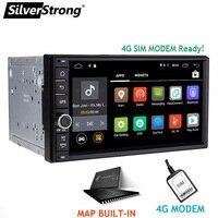 SilverStrong 7 дюймов Android7.1 Универсальный 2 DIN автомобильный DVD 4 г Интернет SIM модема автомобиля радио авто стерео gps KD7000