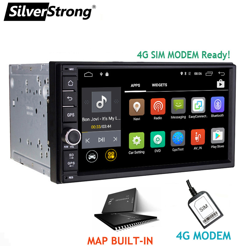 SilverStrong 7inch Android7.1 Universal 2 DIN Car DVD 4G Internet SIM Modem Car Radio Auto Stereo GPS KD7000 silverstrong 7inch android8 0 universal 2 din car dvd 4g internet sim modem car radio auto stereo gps kd7000