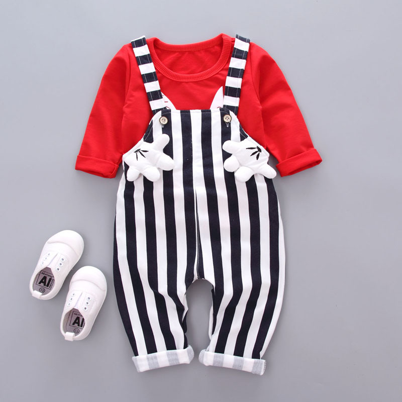 Baby Girls Clothing Sets 2017 Autumn Girls Clothes Set T-shirt+Overalls 2pcs Kids Clothes Girl Sport Suit Children Clothes 15 free shipping top striped dress children baby 3 pcs suit set girl s clothing sets girls sport suits chilren set