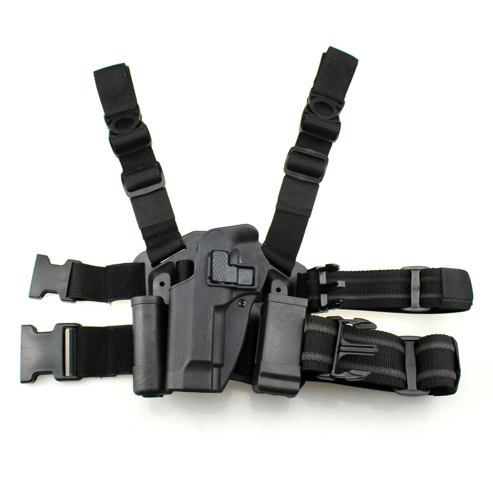 Tactical M92 Leg Holster Left Hand Paddle Thigh Belt Drop Pistol Gun Holster with Magazine Torch Pouch for Beretta M9 M92