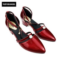 New Red Color Party Ankle Buckle Strap Ladies Shoes Pointed Toe Square Heels Patent Leather Pearl Crystal Elegant Women Pumps