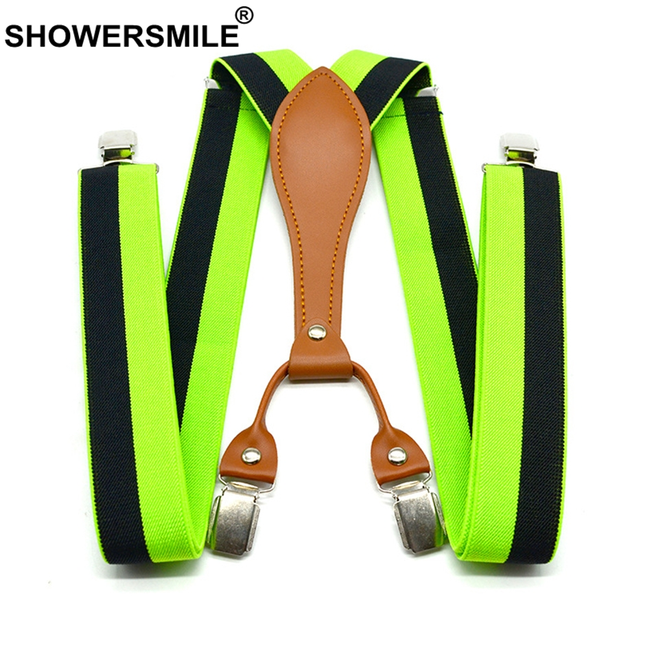 SHOWERSMILE Stripe Suspenders Men Fashion Green Trouser Belts 3.5cm Elastic Pants Straps 4 Clips Suspenders Male Yellow Red Blue