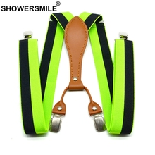 SHOWERSMILE Stripe Suspenders Men Fashion Green Trouser Belts 3.5cm Elastic Pants Straps 4 Clips Male Yellow Red Blue