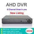 Caja de Metal de Tres en un DVR de 8 Canales 8CH 1080N/960 P/720 P/960 H Zhiyuan Chip AHD-NH NVR Con Control Remoto Libre gratis