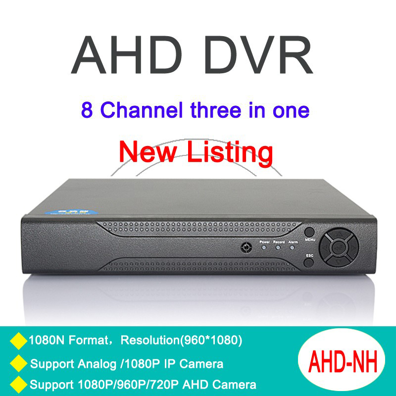 ФОТО Metal Case Three in one DVR 8 Channel 8CH 1080N/960P/ 720P/ 960H Zhiyuan Chip NVR AHD-NH With Remote Control Free Shipping