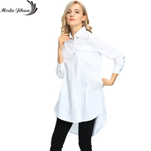 Moda Jihan New Women's Blouses & Shirt Women Long Sleeve Pocket Tops Ladies Boyfriend Style Clothing White Female Clothes Big