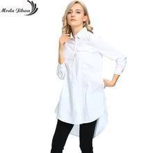 Moda jihan новые женские блузки и рубашки женщины с длинным рукавом Карманный Топы Дамы Boyfriend Стиль одежда белая женская одежда Большой