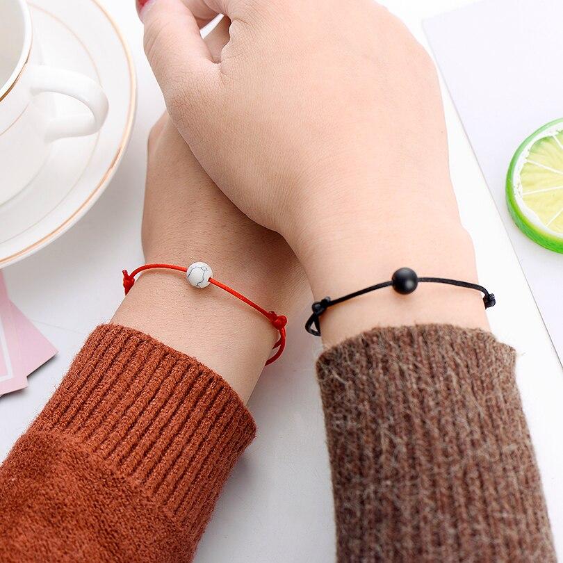 Pipitree 2pcs set Matte Lava Stone Natural Stone Bead Bracelet Red String Braiding Couple Bracelets for